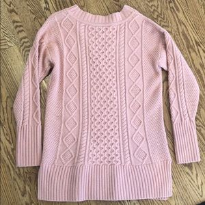 JCrew pink Lonnie cable knit sweater